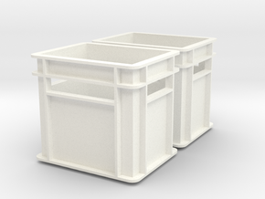 1:6 scale Beverage Crates Megahouse Style X2 in White Processed Versatile Plastic