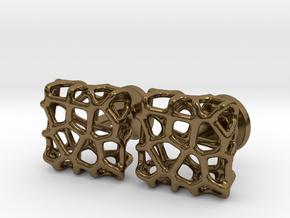 Organic Square Cufflinks in Polished Bronze