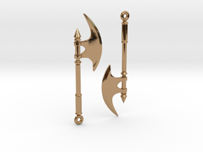 Axe Earrings02 in Polished Brass