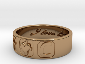 F And C Ring in Polished Brass