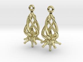 Twirldrop3 Silver Earrings in 18K Gold Plated