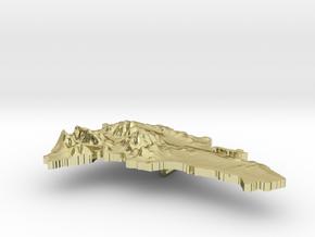 Dominican Republic Terrain Silver Pendant in 18K Gold Plated