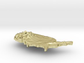 United States Terrain Silver Pendant in 18K Gold Plated