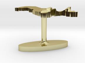 Uzbekistan Terrain Cufflink - Flat in 18K Gold Plated
