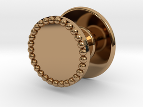 Button Flat Granulated in Polished Brass