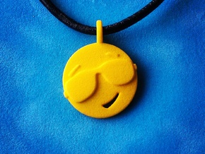 'Sunny' Yellow Plastic Sun Pendant in Yellow Strong & Flexible Polished