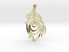 Peacock Feather Pendant in 18K Gold Plated