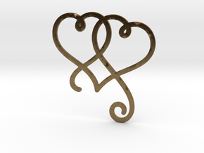 Linked Swirly Hearts (Thin) in Natural Bronze