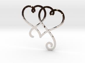 Linked Swirly Hearts (Thin) in Platinum