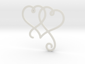 Linked Swirly Hearts (Thin) in White Natural Versatile Plastic