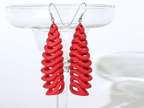 Tetron-earrings in Red Processed Versatile Plastic: Large