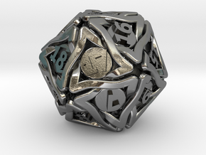 'Twined' Dice D20 MTG Spindown Life Counter Die 32 in Polished Silver