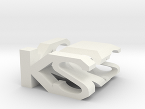 KS Monogram Cube in White Natural Versatile Plastic
