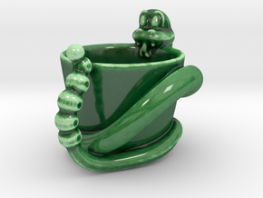 The Snake. Espresso coffee cup  in Gloss Oribe Green Porcelain