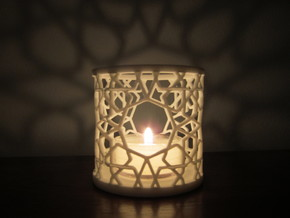 Islamic Tealight Holder in White Natural Versatile Plastic