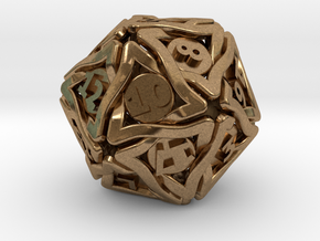'Twined' Dice D20 Gaming Die (32 mm) in Natural Brass