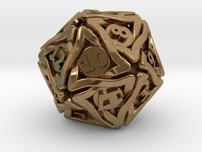 'Twined' Dice D20 Gaming Die (24 mm) in Natural Brass