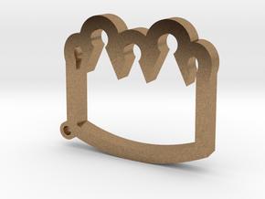 Crown Emoji Keychain/Pendant in Natural Brass