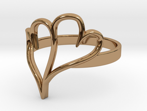 Double Heart Ring (Sz 6) in Polished Brass
