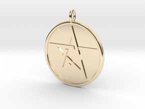 Solid Pentacle Pendant in 14k Gold Plated Brass