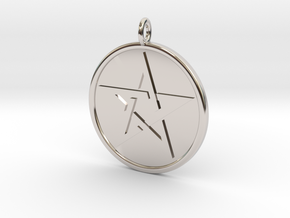 Solid Pentacle Pendant in Rhodium Plated Brass