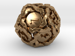 'Twined' Dice D12 Gaming Die (20mm) in Natural Brass