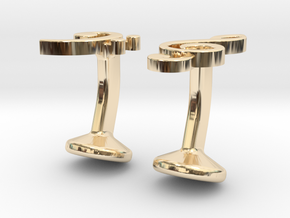 Treble and Bass Clef Cufflinks in 14k Gold Plated Brass
