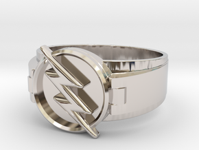Reverse Flash Ring Size 10.5 20.2mm  in Rhodium Plated Brass