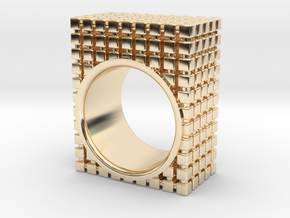 PIXEL RING - SIZE 7 in 14k Gold Plated Brass