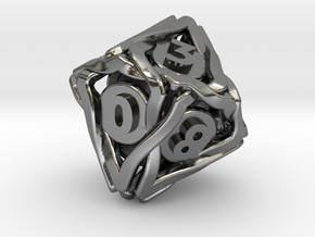 'Twined' Dice D10 Gaming Die (18 mm) in Polished Silver