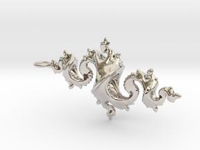 Dragon Pendant 6cm in Rhodium Plated Brass