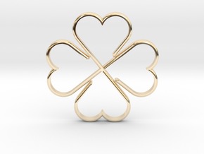 Clover Heart Necklace Pendant in 14k Gold Plated Brass