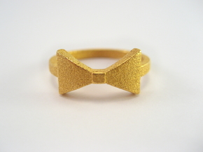 Bow Tie Ring (Size 7) in Polished Gold Steel