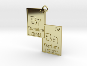 """Br/Ba"" Bromine and Barium Periodic Table Pendant in 18K Gold Plated"