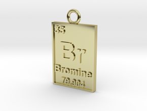 Bromine Periodic Table Pendant in 18K Gold Plated