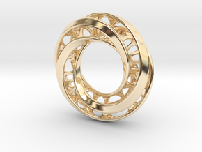 Mobius Ring Pendant v4 *Small* in 14k Gold Plated Brass
