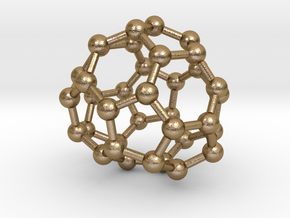 0039 Fullerene c36 -11 c2 in Polished Gold Steel