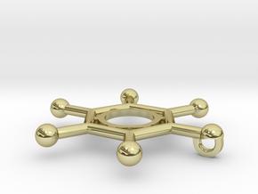 Hexachlorobenzene Chemistry Molecule Pendant in 18K Gold Plated