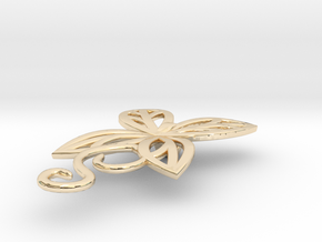 Leaves Butterfly Pendant in 14k Gold Plated Brass