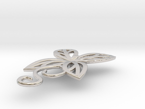 Leaves Butterfly Pendant in Rhodium Plated Brass