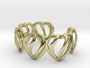 Heart Cage Bracelet (5 large hearts) in 18K Gold Plated