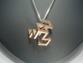 Cube Frame Pendant in Polished Bronzed Silver Steel