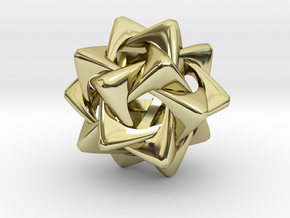 Compound of Five Rounded Tetrahedra in 18K Gold Plated