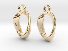 Mobius 1 Sided Die Earrings in 14k Gold Plated Brass