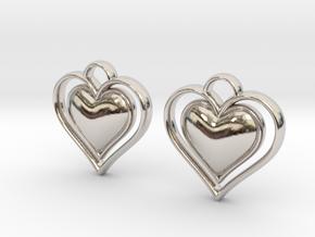 Framed Heart Earrings in Platinum