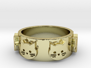 Ring of Seven Cats Ring Size 7.5 in 18K Gold Plated