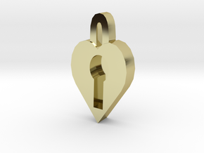 lock heart pendant more printable in 18K Gold Plated