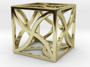 "Cube ""Twirl"" 1""x1""x1"" in 18K Gold Plated"