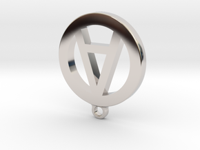 "Necklace Charm - Letter ""A"" in Rhodium Plated Brass"