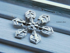 """Snowflake Pendant (1.7"""" tip to tip) in Polished Silver"""